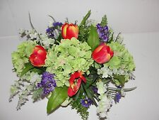 Succulents Summer Tuscan Silk Flower Arrangement Hydrangea Tulip Wisteria