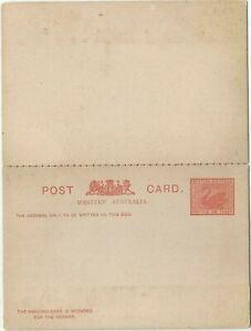 Western Australia Red Swan Postage One Penny Stationery Annexed Reply Post Card