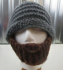 cd73c40765b Beardo Original Foldaway Removable Beard Mustache Knit Stocking Hat Cap Grey