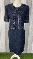 Vintage Canda Navy Beaded Heavy Faux Jacket Occasion Shift Dress Size UK 14