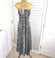 "Stunning Monsoon Dress Maxi ""Dala"" Silk Floral Print Black and White Size UK 8"