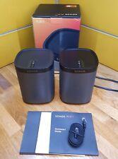 2 x Sonos (Pair) Play 1 Black WiFi Network multi room speakers