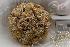 Wedding Flowers Bridal Bouquet in Gold, Crystals & Pearl Loops