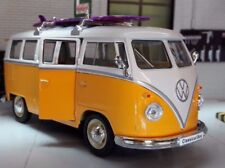 VW Split 1963 T1 Camper Surfer Bus 1:24 Scale Diecast Yellow Model Surf Welly