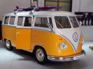 VW Split 1962 T1 Camper Surfer Bus 1:24 Surfboard Yellow Model Welly Surf