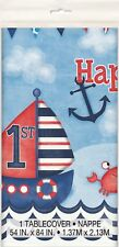 First 1st Birthday Party Nautical Ship Table Cover Tablecloth Plastic Boy One