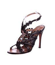 ALAIA Black Leather Floral Laser Cut Cage Slingback Sandal Heels - US 8.5