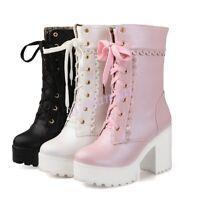 Ladies Lace Up Platform Chunky Block Heel Mid Calf Gothic Punk Boots Sweet UK2-8