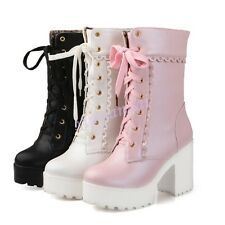 Womens Punk Lace Up Platform Chunky Heel Mid Calf Hight Top Boot Sweet Shoes @