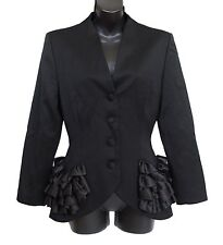 LORIS AZZARO Paris Vintage Ruffle Jacket 100% Wool Black Size FR 36 US 4