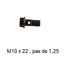 Vis Banjo Pour Etrier de frein / Maitre cylindre M10 x 22 pas: 1,25 moto Scooter