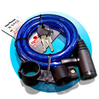 SPIRALSCHLOSS 12x1200mm blau Kabelschloss Fahrradschloss + Halterung B-Safe