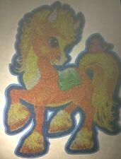 Rare Vintage Iron Heat Transfer Sparkly Glittery Cute Pony Multicolor