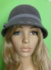 GREY FELT WOOL CLOCHE HAT BOW VINTAGE GATSBY