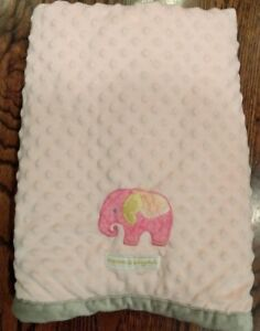 Blankets & Beyond Pink Elephant Blanket Minky Gray Edge Dot Replacement STAIN