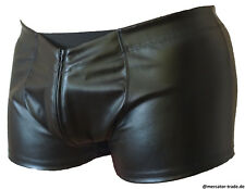 shiny Wetlook KUNSTLEDER 2x Zipper Shorts Herren Pants Hipster schwarz Gr. M