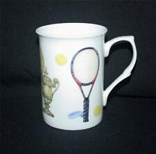 A FINE BONE CHINA TENNIS MUG CUP BEAKER XMAS NEW MICROWAVE+ DISHWASHER PROOF