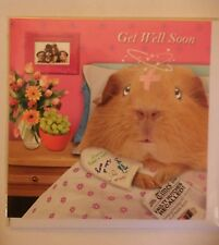 Get well soon Guinea Pig in bed card glitter detail hope you feel better soon