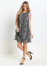 Black and Ivory Layered Chiffon Fully Lined A Line Tunic Dress size 10