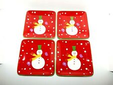 Pier 1 Snowman Square Appetizer Plates Set Of 4 Snowball Winter Christmas