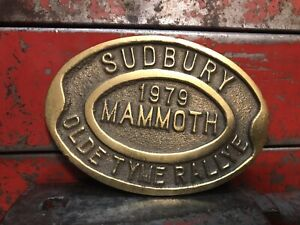 Sign Brass Sudbury Old Tyme Rally Industrial Man Cave Steampunk Reclaimed Plaque