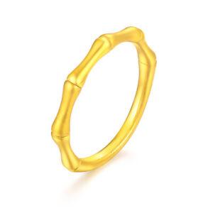1PCS Real 999 24K Yellow Gold Women Ring 3D Luck Bamboo Ring US6 0.9-1.2g