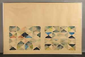 1970 MCM Mid-Century Modern GARY BOWER Abstract Modernist Watercolor Painting NR