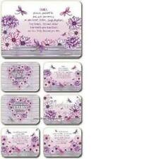 Dragonflies Pink & Purple Placemats x 6 & Coasters x 6 By Lisa Pollock Gift New