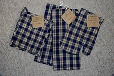 SET 4/KITCHEN TOWELS/POTHOLDER/MITT NAVY BLUE WOVEN COTTON SALTBOX PLAID/NWT