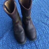 Hoffman Plain Toe Lineman Roper Work Boots Made In Usa Mens 9 Leather Nylon
