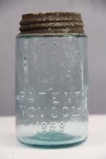 "Antique Masons Nov 30Th 1858 Glass Jar 5 3/4"" W/ Lid Beautiful Display Piece"