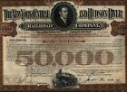 $50,000 1940's New York Central And Hudson River Railroad Bond Stock Certificate