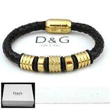 """Braided Leather Magnetic Bracelet + Box Dg Men's Gold Stainless Steel 8"""" Black"""
