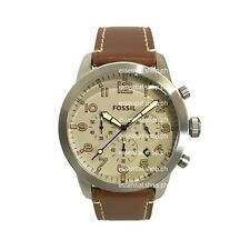 PRE-ORDER Fossil Pilot 54 Chronograph Beige Dial Leather Strap Mens Watch FS5144