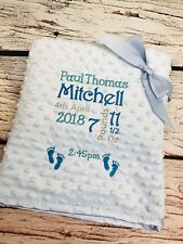 PERSONALISED Blue Baby Pram Cot Bubble Blanket FULL BIRTH DETAILS Boys New Gift