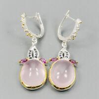 Vintage SET Natural Rose Quartz 925 Sterling Silver Earrings /E36995