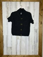 talbots small petite Short Sleeve Black Knitted Cardigan Chucky Large Buttons
