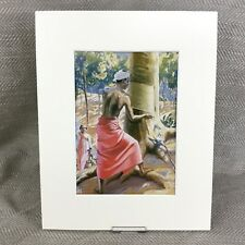 Vintage Art Deco Print Indian Rubber Tree Plantation Worker Ca. 1930s