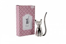 CAT Jewellery Ring Holder - Silver Plated + Crystal Eyes *Gift* NEW Boxed 9.5cm