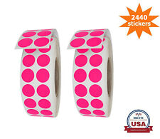 Royal Green Round Neon Pink Dot Stickers 17mm 2440 Pack on Rolls