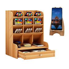 Top Desk Organizer DIY Pen Holder Box Children Stationary Storage Rack w/ Drawer