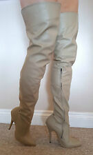 Sexy Rare Extra Length Beige Leather High Heel Thigh/Crotch Boots UK 9 EU 42