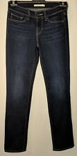 WOMEN'S LEVI'S JEANS 714 STRAIGHT STRETCH BLUE SIZE 9 INSEAM 32""