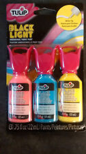Pink Blue Yellow 3 pk Paint NEON UV blacklight glow craft fabric theater tulip
