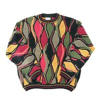"VTG 90s Carlo Alberto Men XL 53"" Sweater Abstract Art Biggie Hip Hop Chunky"