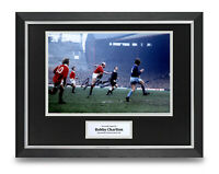 Sir Bobby Charlton Signed 16x12 Framed Photo Display Manchester United Autograph
