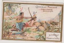 CHROMO ANCIEN PUBLICITAIRE CHOCOLAT POULAIN- INDIENS-CHASSE A l'ARC - BUFFLE