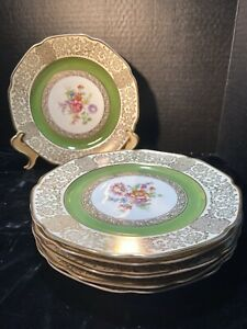 Bavaria Plates Set (6) By Tirschenreuth Crafted in Germany, Gold 24k Gilt