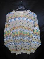 Vintage 80s Monello M Orange Green Blue Sweater Lightweight Cotton Knit Crew Men