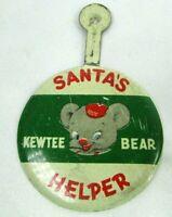 1950s Vintage Fold Over Tab Button KEWTEE BEAR Santa's Helper For Plush Doll